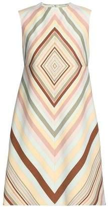 Valentino Flared Printed Wool And Silk-Blend Mini Dress