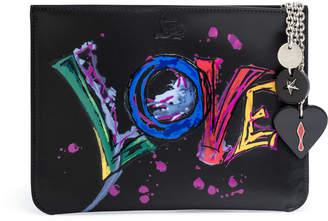 Christian Louboutin Loubicute black love print pouch