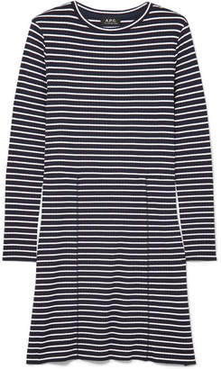 A.P.C. Clementine Striped Ribbed-knit Dress - Navy