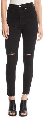 RE/DONE Redone High-Rise Skinny Frayed Ankle Jeans with Ripped Knees