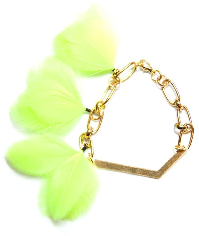 Noémiah Chevron Neon Chartreuse Feather Bracelet