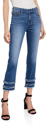 7 For All Mankind Jen7 by Cropped Straight-Leg Jeans with Fringe