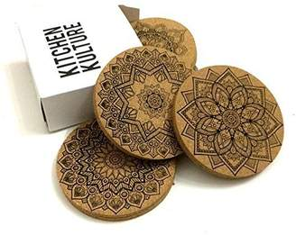 Kitchen Kulture Cork Coasters for Drinks by (Set of 8) - MANDALA designs