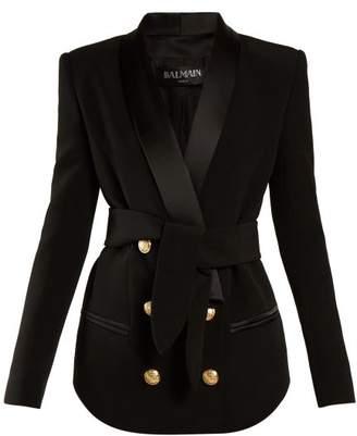 Balmain Tie Waist Double Breasted Blazer - Womens - Black