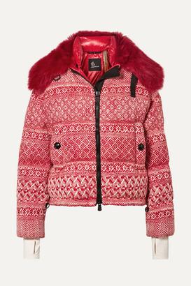 Moncler Genius + 3 Grenoble Faux Shearling-trimmed Wool-blend Tweed Down Jacket