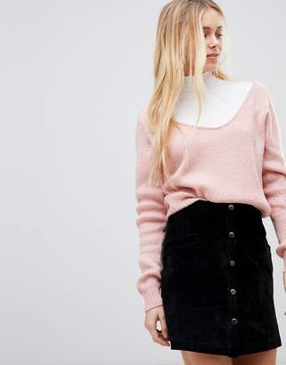 Girls On Film Ribbed Slouchy Jumper