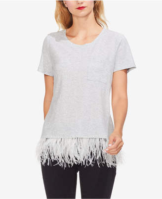 Vince Camuto Short-Sleeve Feather-Hem Top