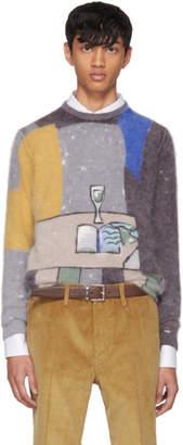 Prada Grey Angora Book Print Sweater