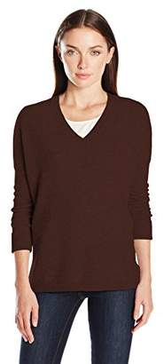 Lark & Ro Women's 100% Cashmere Soft Slouchy V-Neck Sweater