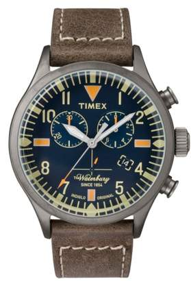 Timex R) Waterbury Chronograph Leather Strap Watch, 42mm