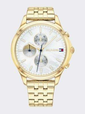 Tommy Hilfiger Mother-Of-Pearl Link Bracelet Chronograph Watch