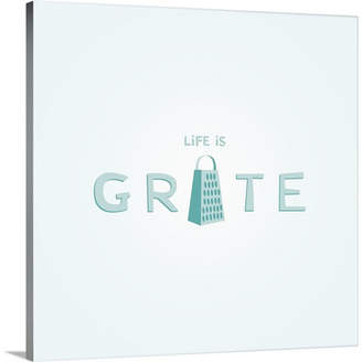 KitchenArt Canvas On Demand 'Life is Grate - Retro Kitchen Art' by Kate Lillyson Graphic Art on Canvas