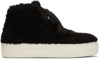 Helmut Lang Black Shearling Stitched High-Top Sneakers $575 thestylecure.com