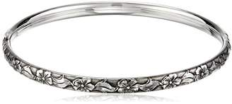 Sterling Silver Polished Guard and Hinge Bangle Bracelet with Floral Pattern and Antique Finish
