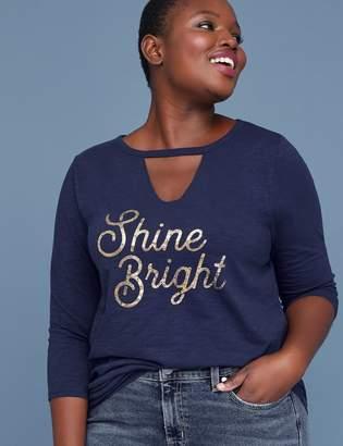 Lane Bryant Shine Bright Graphic Choker V-Neck Tee