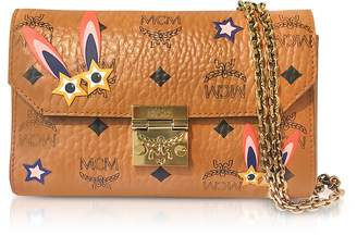 MCM Millie Star Eyed Bunny Visetos Cognac Small Flap Crossbody Bag
