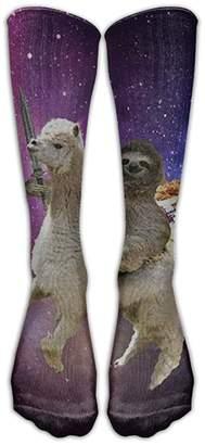 Unknown Funny Sloth Riding Llama Cut Fruit Women's Novelty Knee High Socks