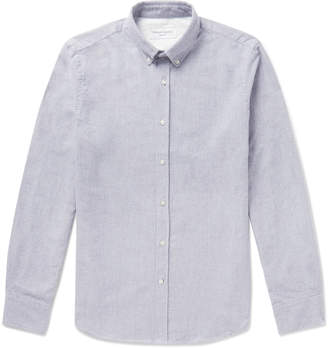 Officine Generale Button-Down Collar Brushed-Cotton Oxford Shirt - Men - Gray