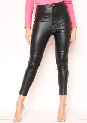 c08868ca28d Missy Empire Missyempire Emi Black Faux Leather Skinny Trousers