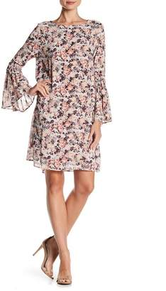 Bobeau B Collection by Jude Flare Sleeve Floral Print Dress