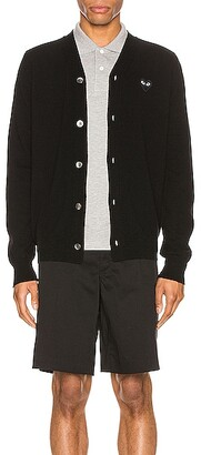 Comme des Garcons Lambswool Cardigan with Black Emblem