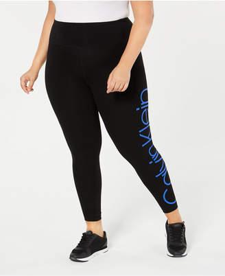 Calvin Klein Plus Size Logo High-Rise Leggings