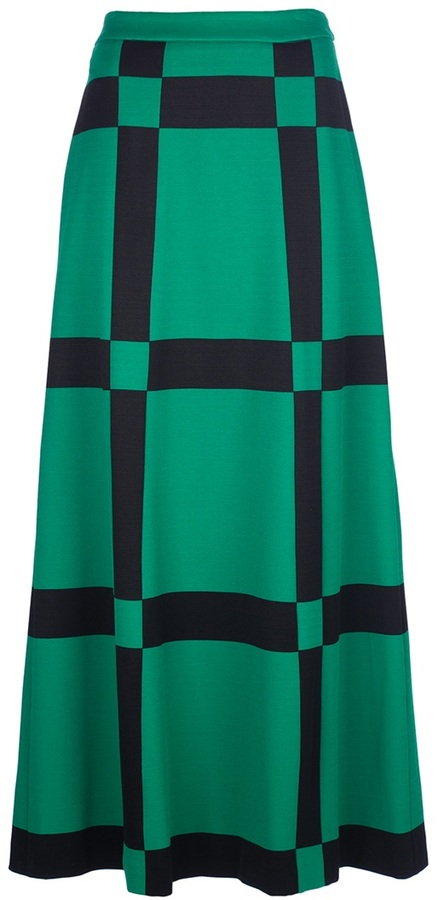 Marni bold check long skirt