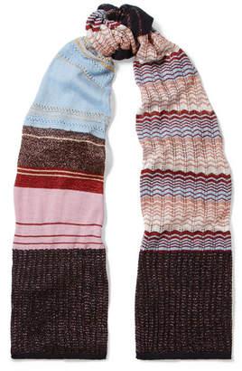 Missoni Striped Metallic Crochet-knit Scarf - Pink