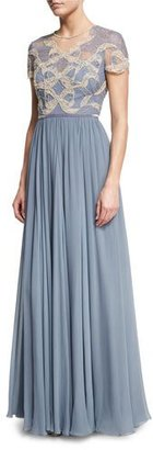 Jenny Packham Crystal-Beaded & Lace Short-Sleeve Gown $4,265 thestylecure.com