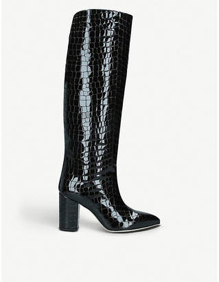 Paris Texas Croc-embossed patent leather knee-high boots