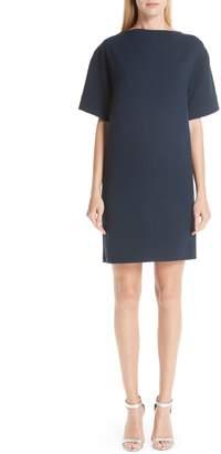 Oscar de la Renta Bow Back Stretch Wool Shift Dress