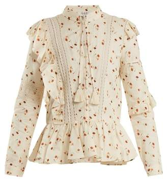 Sea Margaux Floral Print Ruffle Trimmed Cotton Blouse - Womens - Ivory Multi