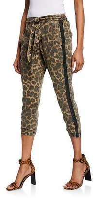 Pam & Gela Leopard-Print Cropped Skinny Pants w/ Belt