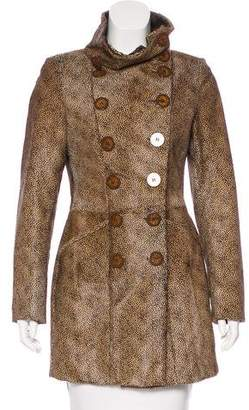 Salvatore Ferragamo Double-Breasted Ponyhair Coat