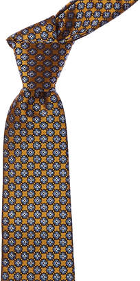 Canali Yellow & Blue Floral Silk Tie