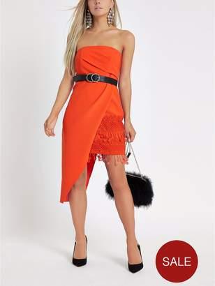 River Island RI Petite Asymmetric Bodycon Dress - Red