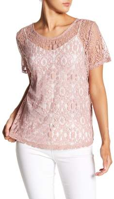 14th & Union Sheer Lace Tie Back Tee (Regular & Petite)