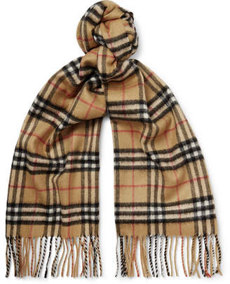 Burberry Fringed Checked Cashmere Scarf - Men - Tan