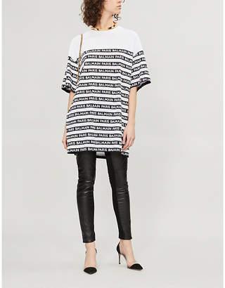 Balmain Oversized logo-stripe cotton-jersey T-shirt