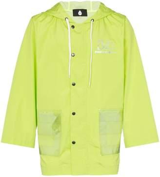 Duo Button-down logo print hooded raincoat