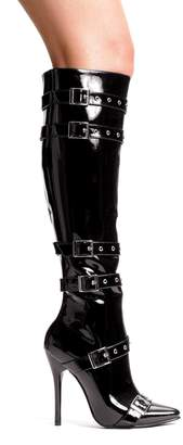 "Ellie Shoes ELLIE 516-LEXI Women 5"" Stiletto Heel Knee High Boots With Buckles Pointy Toe, Color: PU, Size:10"