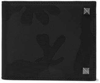 Valentino Camouflage-Jacquard Shell And Leather Billfold Wallet