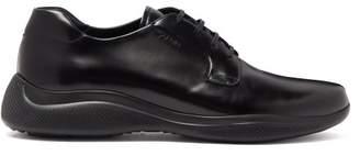 Prada Rubber Sole Leather Derby Shoes - Mens - Black