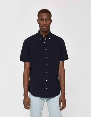 Gitman Brothers Seersucker Button Up Shirt in Navy
