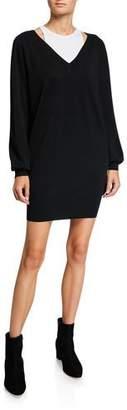 Alexander Wang Bi-Layer Long-Sleeve Sweater Dress