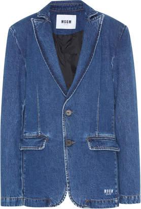 MSGM Denim Button Front Blazer