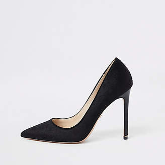 River Island Black plush leather pumps