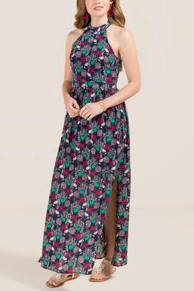 francesca's Maris Tie Neck Tropical Side Slit Maxi Dress - Navy