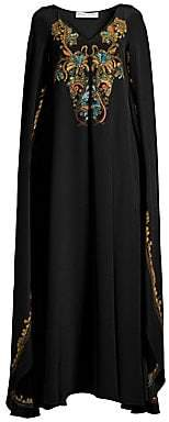 Etro Women's Embroidered Silk Cape Gown