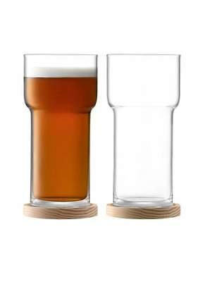 LSA International Two-Piece Utility Beer Glass & Coaster Set